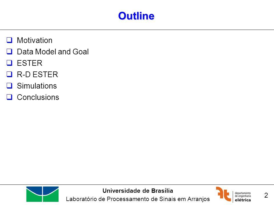 Universidade de Brasília Laboratório de Processamento de Sinais em Arranjos Outline Motivation Data Model and Goal ESTER R-D ESTER Simulations Conclusions 2