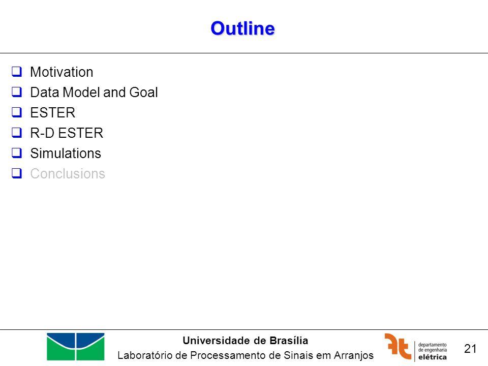 Universidade de Brasília Laboratório de Processamento de Sinais em Arranjos Outline Motivation Data Model and Goal ESTER R-D ESTER Simulations Conclusions 21