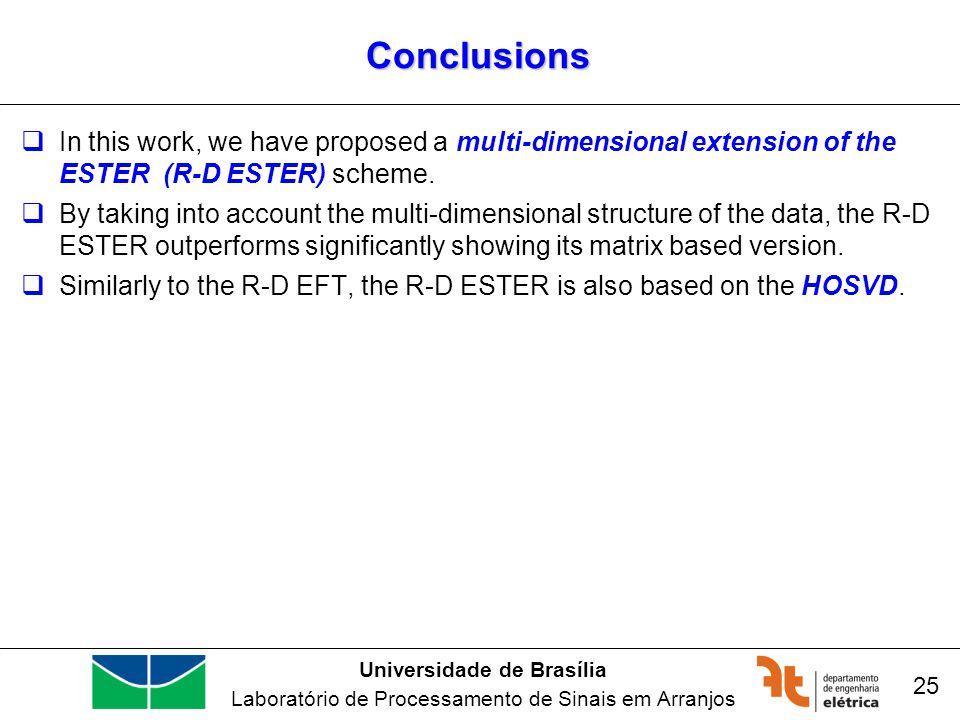 Universidade de Brasília Laboratório de Processamento de Sinais em Arranjos Conclusions In this work, we have proposed a multi-dimensional extension o