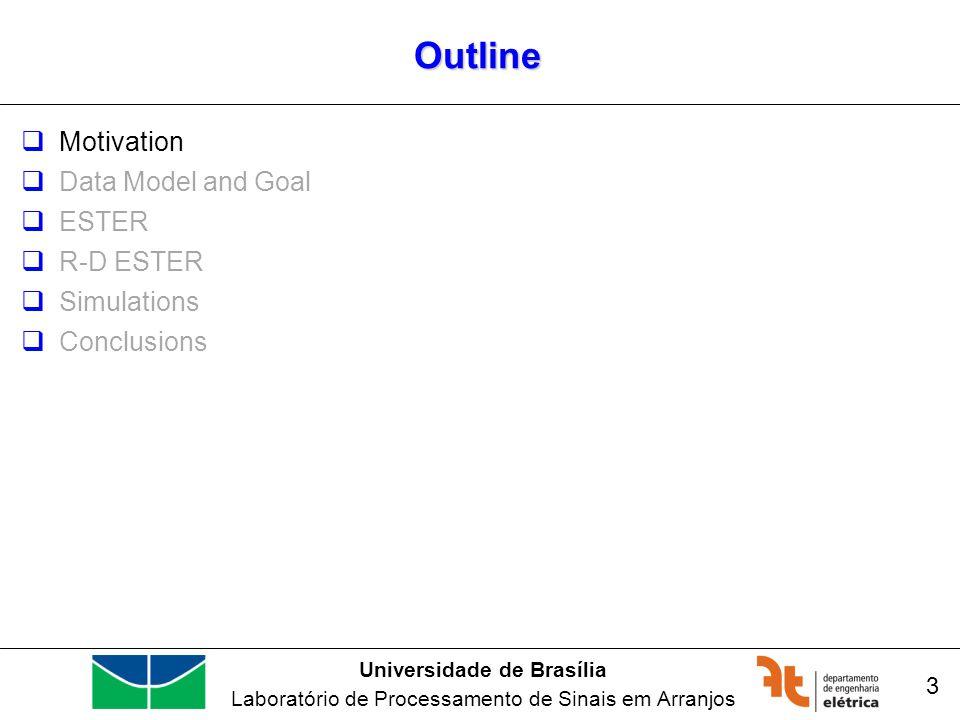 Universidade de Brasília Laboratório de Processamento de Sinais em Arranjos Outline Motivation Data Model and Goal ESTER R-D ESTER Simulations Conclusions 3