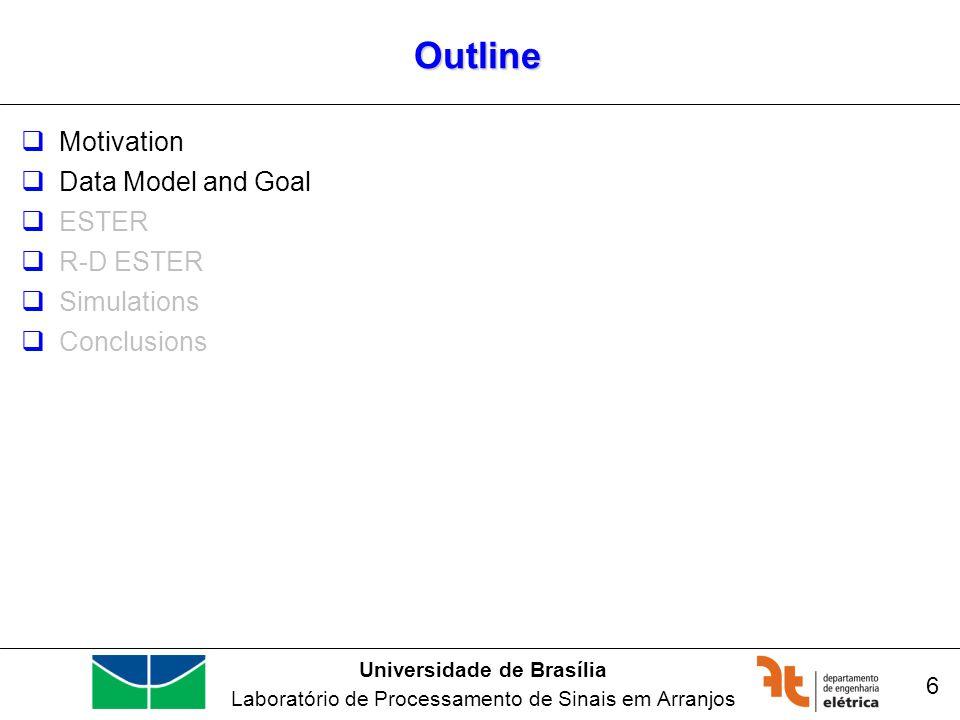 Universidade de Brasília Laboratório de Processamento de Sinais em Arranjos Outline Motivation Data Model and Goal ESTER R-D ESTER Simulations Conclusions 6