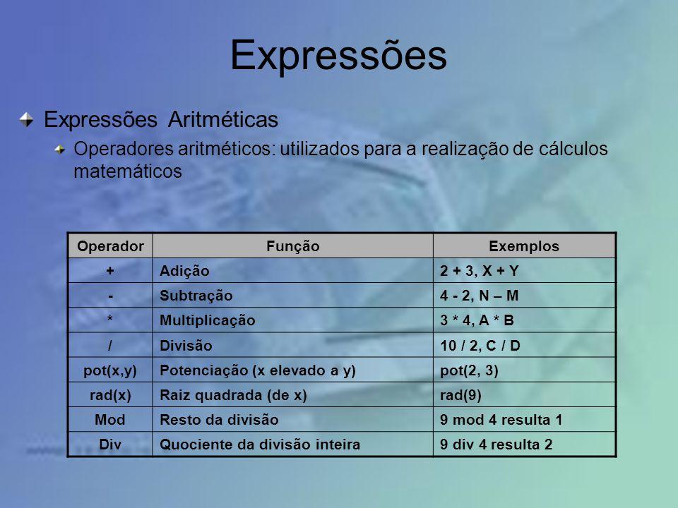 Expressões Expressões Aritméticas Operadores aritméticos: utilizados para a realização de cálculos matemáticos OperadorFunçãoExemplos +Adição2 + 3, X