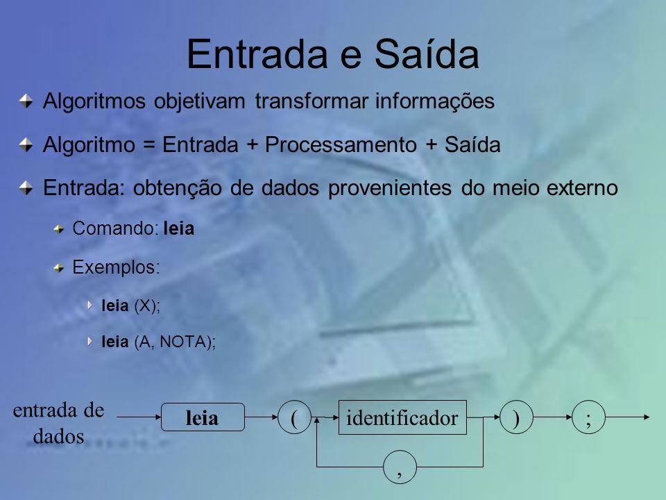 Entrada e Saída Algoritmos objetivam transformar informações Algoritmo = Entrada + Processamento + Saída Entrada: obtenção de dados provenientes do me