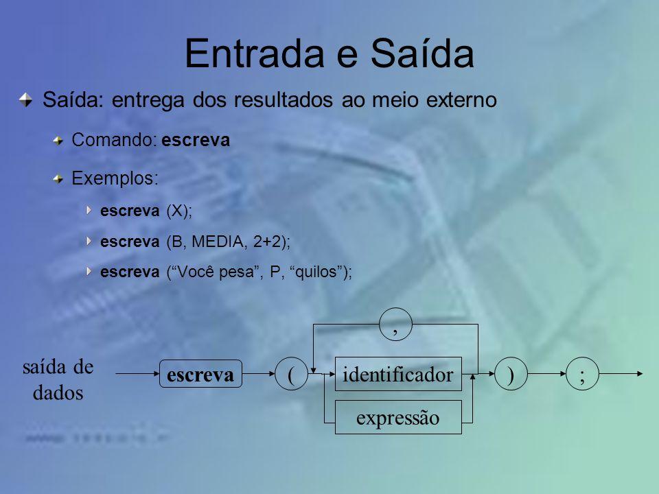 Entrada e Saída Saída: entrega dos resultados ao meio externo Comando: escreva Exemplos: escreva (X); escreva (B, MEDIA, 2+2); escreva (Você pesa, P,