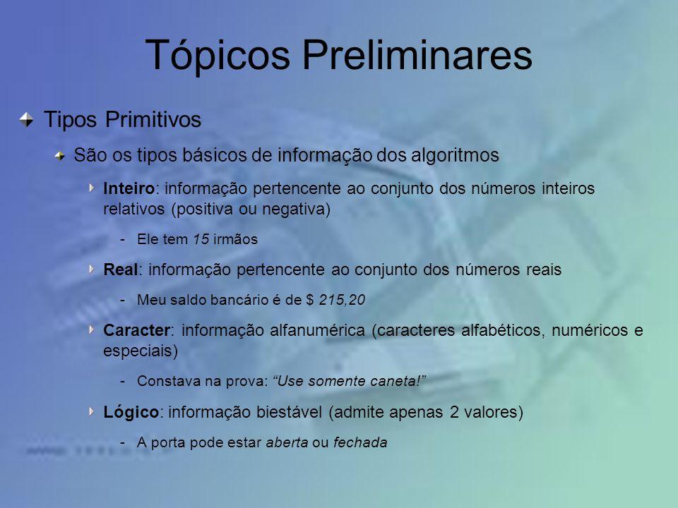 Tópicos Preliminares Tipos Primitivos São os tipos básicos de informação dos algoritmos Inteiro: informação pertencente ao conjunto dos números inteir