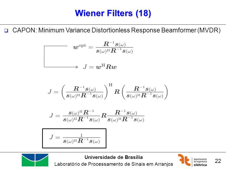 Universidade de Brasília Laboratório de Processamento de Sinais em Arranjos Wiener Filters (18) 22 CAPON: Minimum Variance Distortionless Response Beamformer (MVDR)