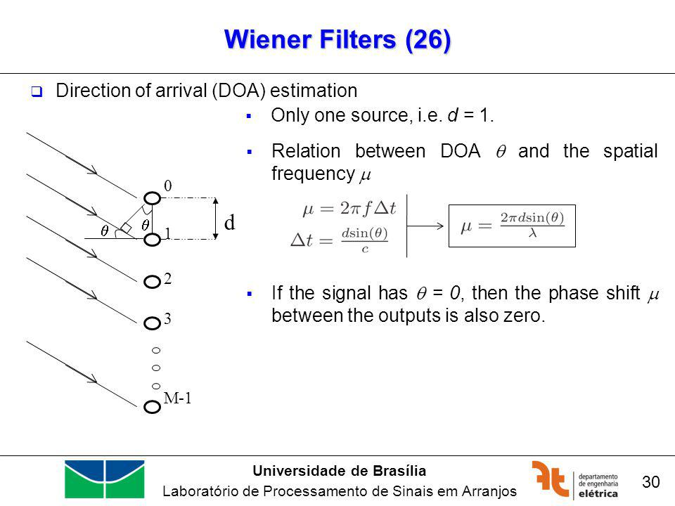 Universidade de Brasília Laboratório de Processamento de Sinais em Arranjos Wiener Filters (26) 30 Direction of arrival (DOA) estimation M-1 3 2 1 0 d Relation between DOA and the spatial frequency If the signal has = 0, then the phase shift between the outputs is also zero.