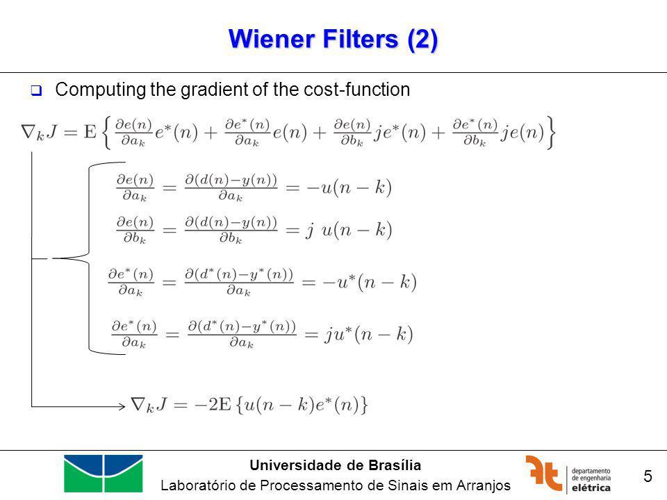 Universidade de Brasília Laboratório de Processamento de Sinais em Arranjos Wiener Filters (4) 6 In the optimum case, the inputs should be orthogonal to the error function.