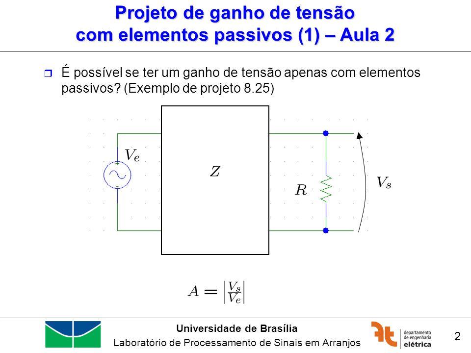 Universidade de Brasília Laboratório de Processamento de Sinais em Arranjos 3 Projeto de ganho de tensão com elementos passivos (2) – Aula 2 É possível se ter um ganho de tensão apenas com elementos passivos.
