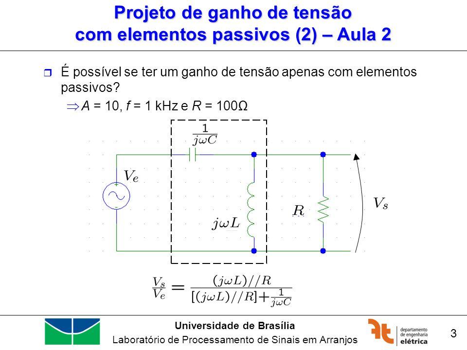 Universidade de Brasília Laboratório de Processamento de Sinais em Arranjos 3 Projeto de ganho de tensão com elementos passivos (2) – Aula 2 É possíve