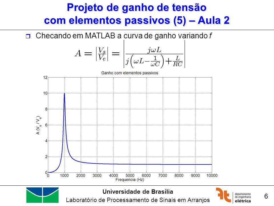 Universidade de Brasília Laboratório de Processamento de Sinais em Arranjos 7 Checando em MATLAB a curva de ganho variando f Projeto de ganho de tensão com elementos passivos (6) – Aula 2