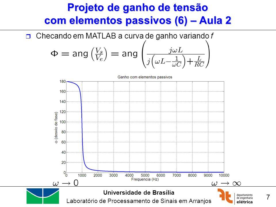 Universidade de Brasília Laboratório de Processamento de Sinais em Arranjos 7 Checando em MATLAB a curva de ganho variando f Projeto de ganho de tensã