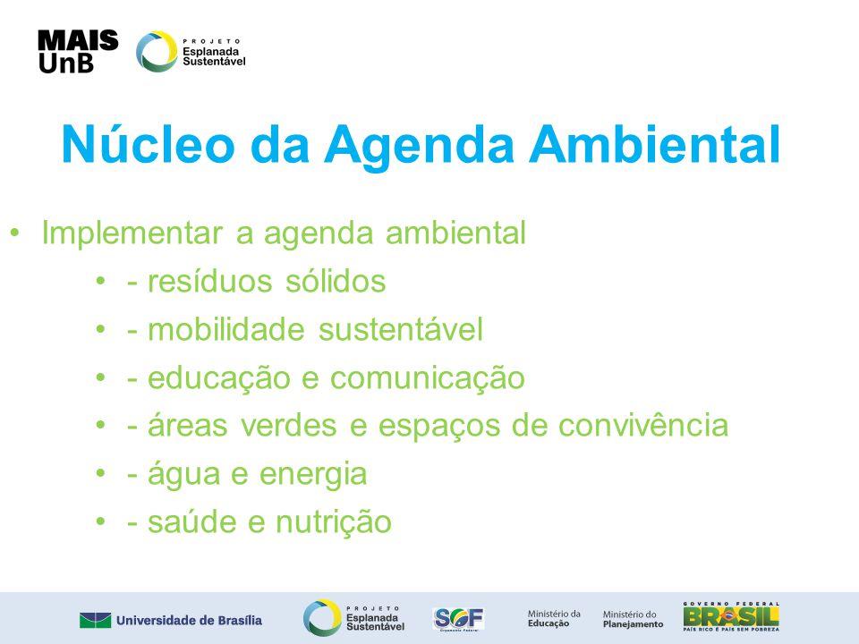 Núcleo da Agenda Ambiental Implementar a agenda ambiental - resíduos sólidos - mobilidade sustentável - educação e comunicação - áreas verdes e espaço
