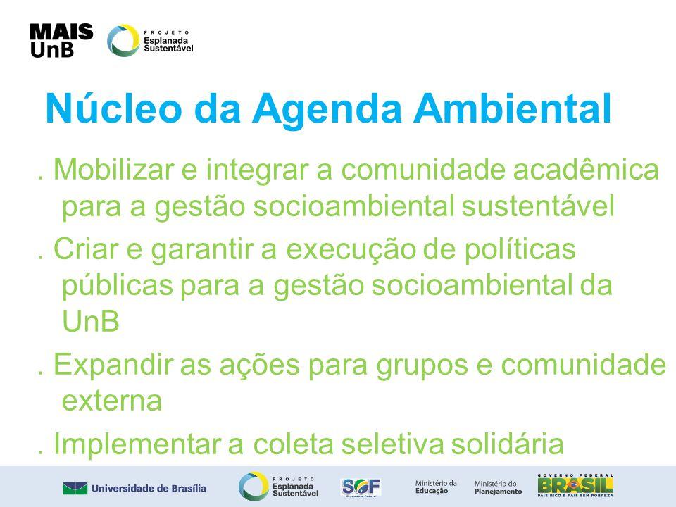 Núcleo da Agenda Ambiental. Mobilizar e integrar a comunidade acadêmica para a gestão socioambiental sustentável. Criar e garantir a execução de polít