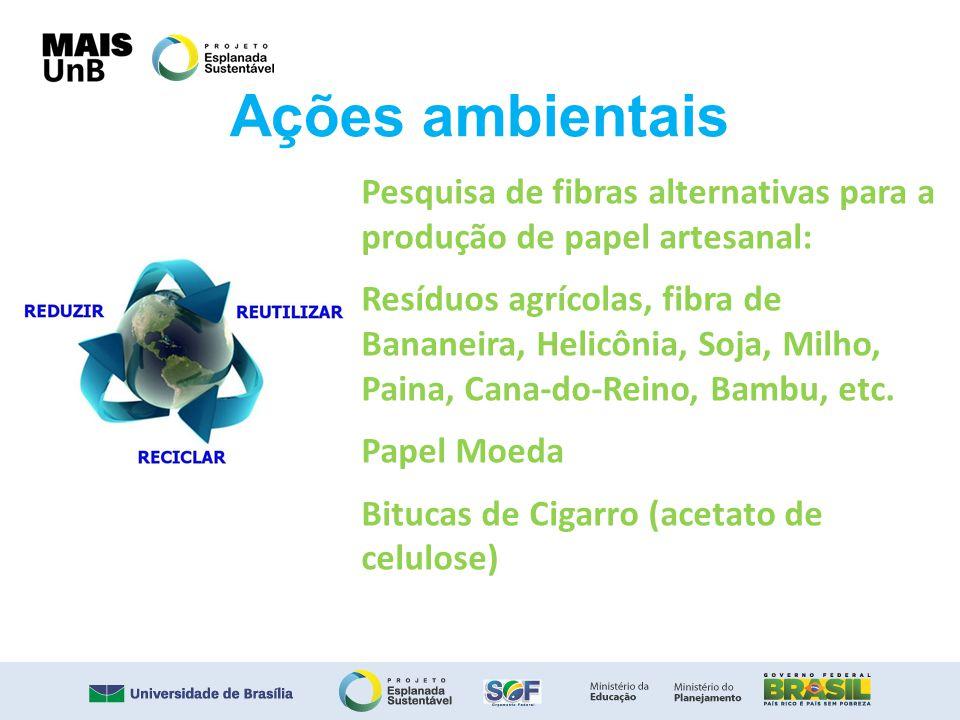 Ações ambientais Pesquisa de fibras alternativas para a produção de papel artesanal: Resíduos agrícolas, fibra de Bananeira, Helicônia, Soja, Milho, P