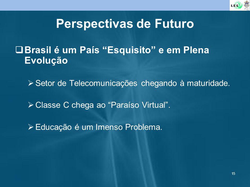 15 Perspectivas de Futuro Brasil é um País Esquisito e em Plena Evolução Setor de Telecomunicações chegando à maturidade. Classe C chega ao Paraíso Vi