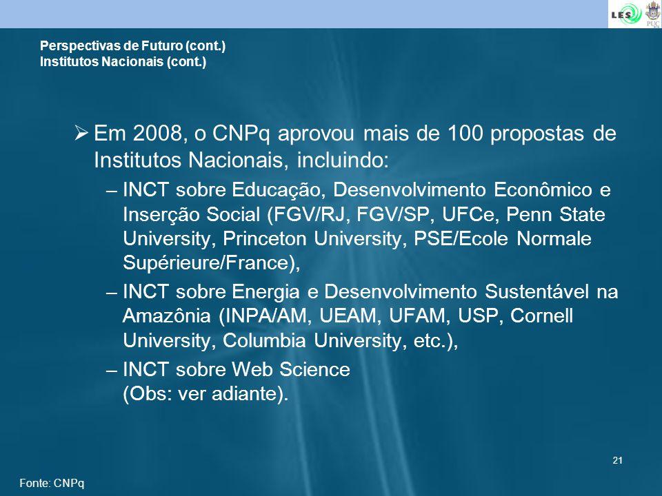21 Em 2008, o CNPq aprovou mais de 100 propostas de Institutos Nacionais, incluindo: –INCT sobre Educação, Desenvolvimento Econômico e Inserção Social