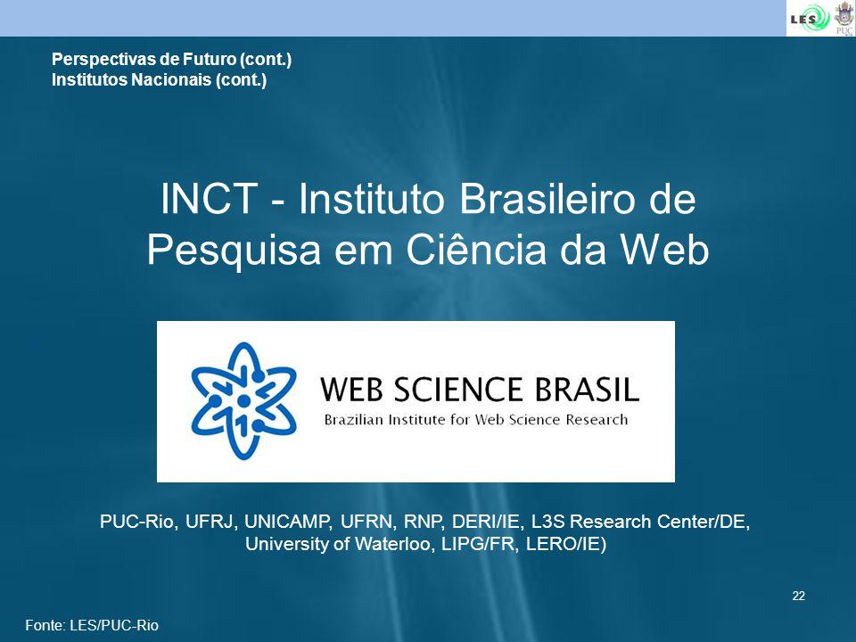 22 INCT - Instituto Brasileiro de Pesquisa em Ciência da Web Perspectivas de Futuro (cont.) Institutos Nacionais (cont.) PUC-Rio, UFRJ, UNICAMP, UFRN,
