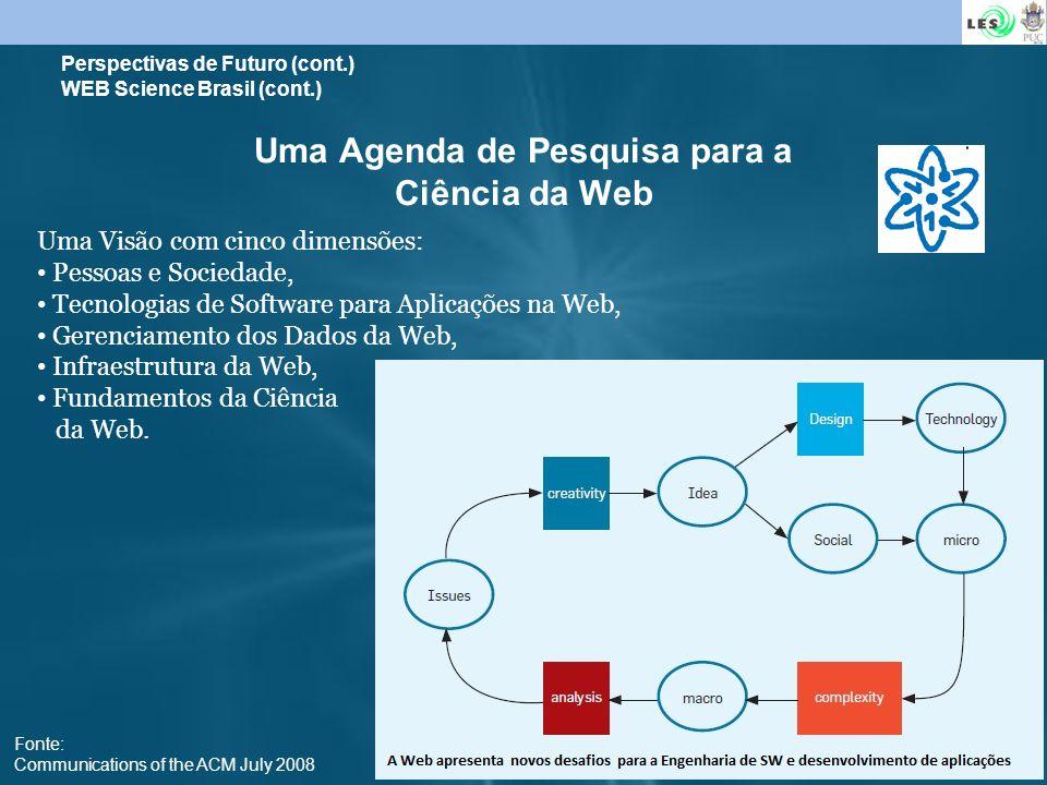 23 Uma Agenda de Pesquisa para a Ciência da Web Uma Visão com cinco dimensões: Pessoas e Sociedade, Tecnologias de Software para Aplicações na Web, Ge