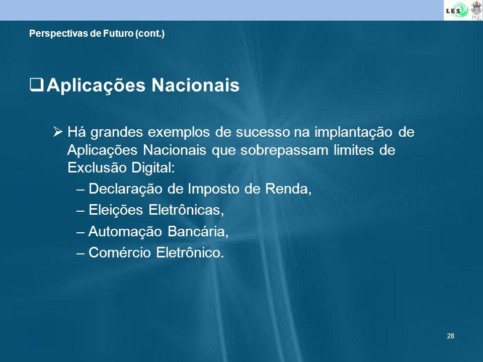 28 Perspectivas de Futuro (cont.) Aplicações Nacionais Há grandes exemplos de sucesso na implantação de Aplicações Nacionais que sobrepassam limites d