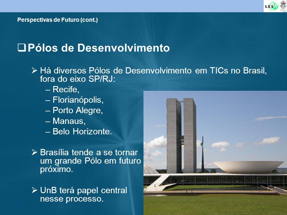 29 Perspectivas de Futuro (cont.) Pólos de Desenvolvimento Há diversos Pólos de Desenvolvimento em TICs no Brasil, fora do eixo SP/RJ: –Recife, –Flori