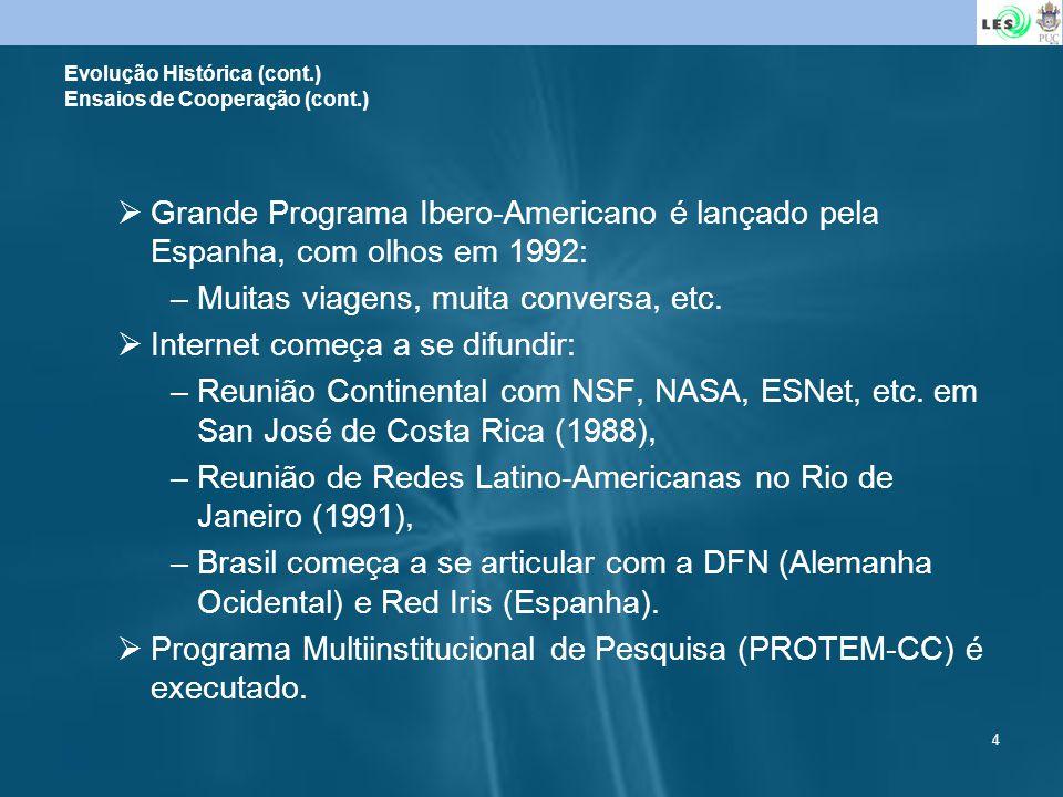 4 Grande Programa Ibero-Americano é lançado pela Espanha, com olhos em 1992: –Muitas viagens, muita conversa, etc. Internet começa a se difundir: –Reu