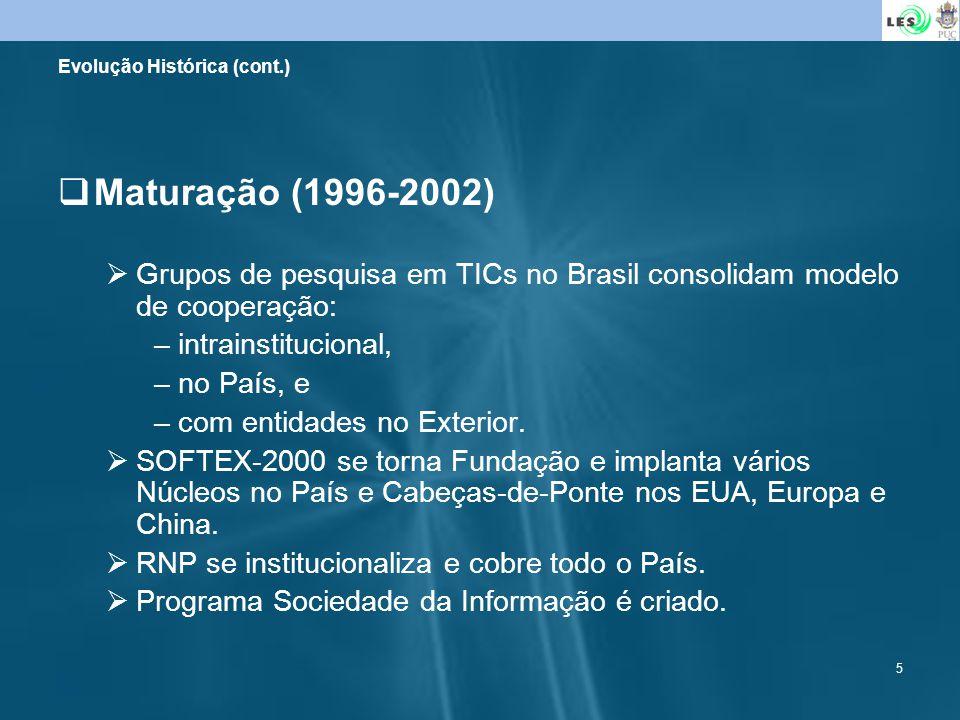 5 Maturação (1996-2002) Grupos de pesquisa em TICs no Brasil consolidam modelo de cooperação: –intrainstitucional, –no País, e –com entidades no Exter