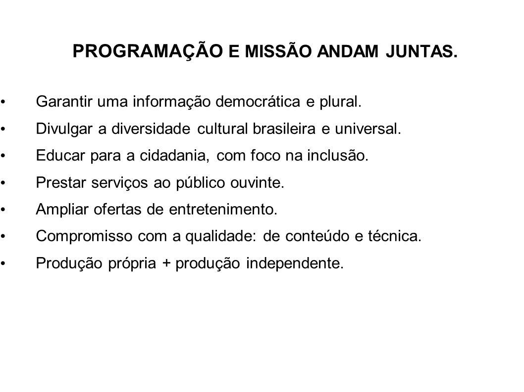 PROGRAMAÇÃO E MISSÃO ANDAM JUNTAS. Garantir uma informação democrática e plural. Divulgar a diversidade cultural brasileira e universal. Educar para a