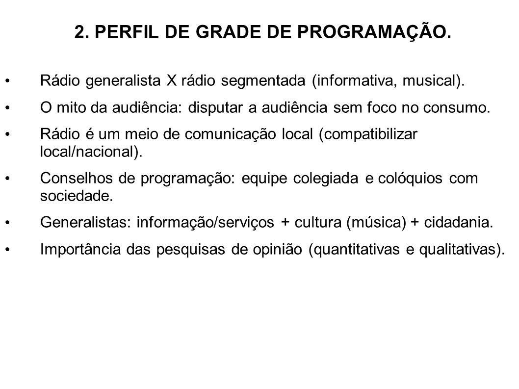 2. PERFIL DE GRADE DE PROGRAMAÇÃO. Rádio generalista X rádio segmentada (informativa, musical). O mito da audiência: disputar a audiência sem foco no