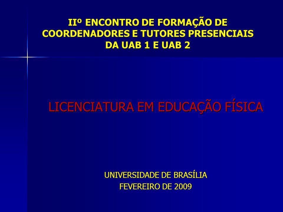 IIº ENCONTRO DE FORMAÇÃO DE COORDENADORES E TUTORES PRESENCIAIS DA UAB 1 E UAB 2 LICENCIATURA EM EDUCAÇÃO FÍSICA UNIVERSIDADE DE BRASÍLIA FEVEREIRO DE