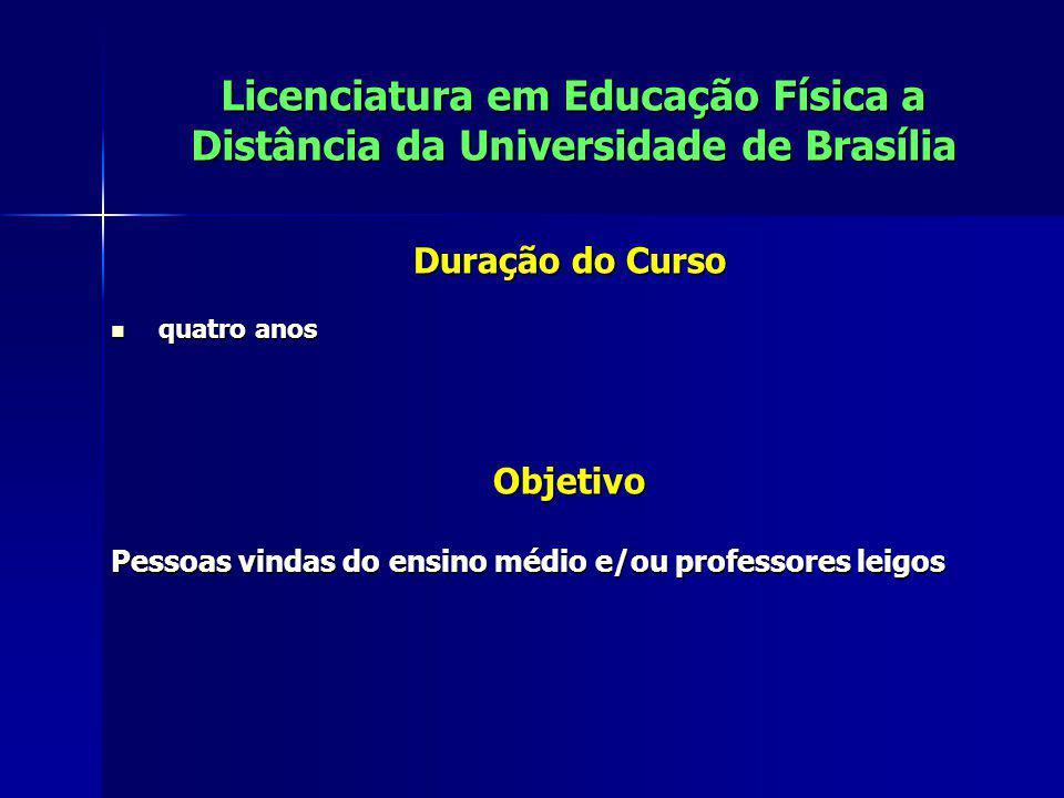 Licenciatura em Educação Física a Distância da Universidade de Brasília Duração do Curso quatro anos quatro anosObjetivo Pessoas vindas do ensino médi