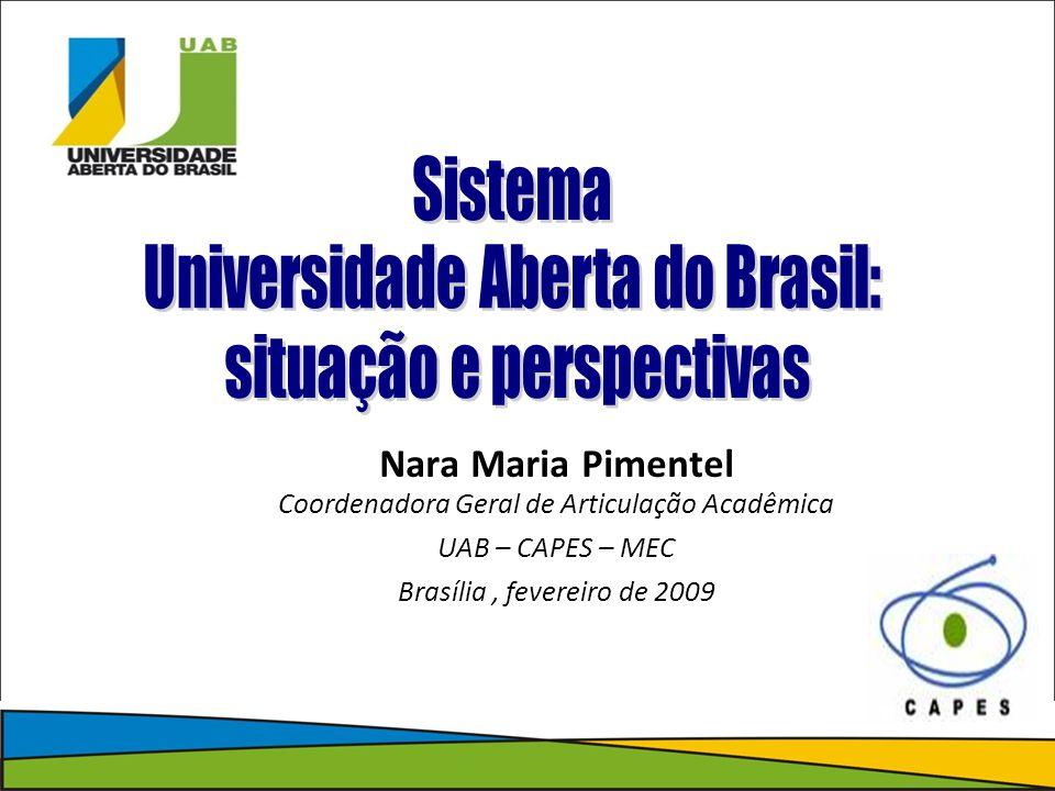 Nara Maria Pimentel Coordenadora Geral de Articulação Acadêmica UAB – CAPES – MEC Brasília, fevereiro de 2009