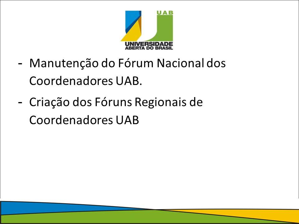- Manutenção do Fórum Nacional dos Coordenadores UAB.