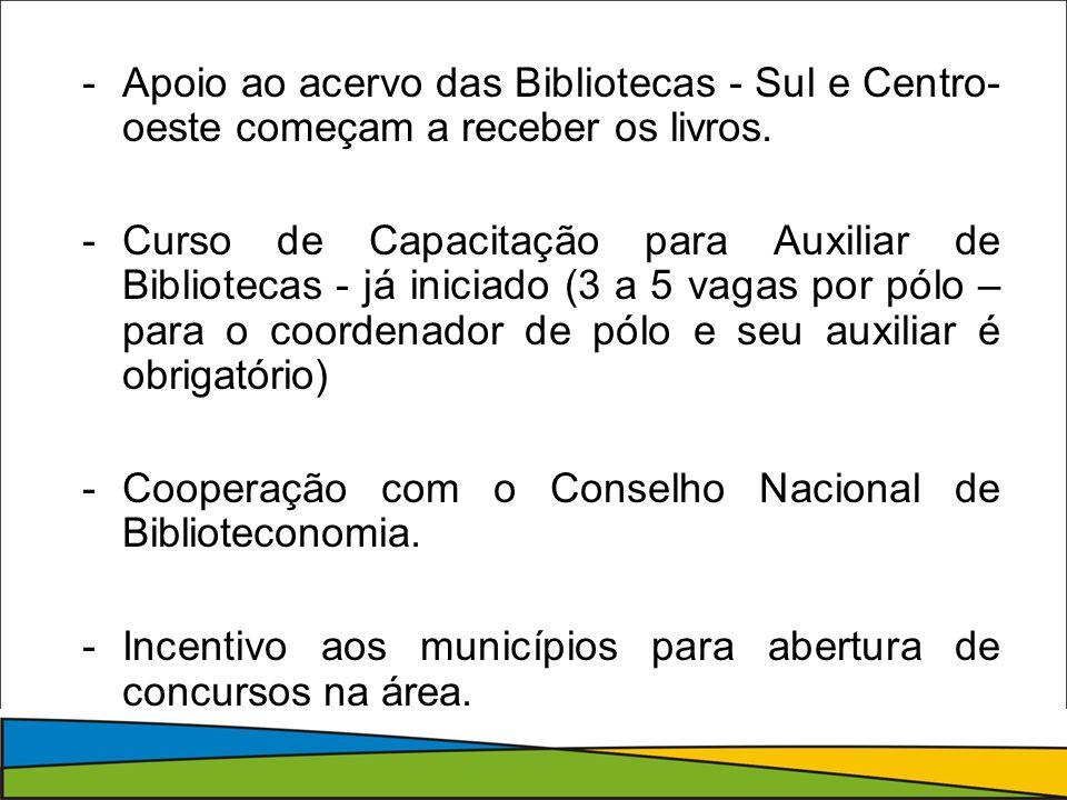 -Apoio ao acervo das Bibliotecas - Sul e Centro- oeste começam a receber os livros.