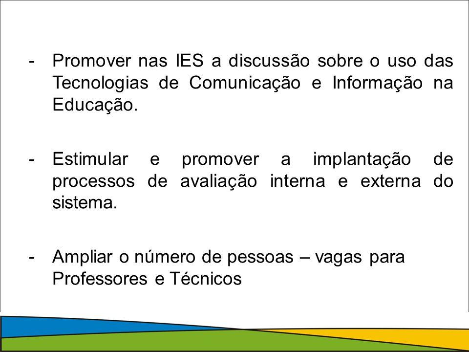 -Promover nas IES a discussão sobre o uso das Tecnologias de Comunicação e Informação na Educação.