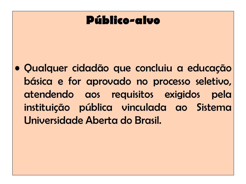 Público-alvo Qualquer cidadão que concluiu a educação básica e for aprovado no processo seletivo, atendendo aos requisitos exigidos pela instituição pública vinculada ao Sistema Universidade Aberta do Brasil.