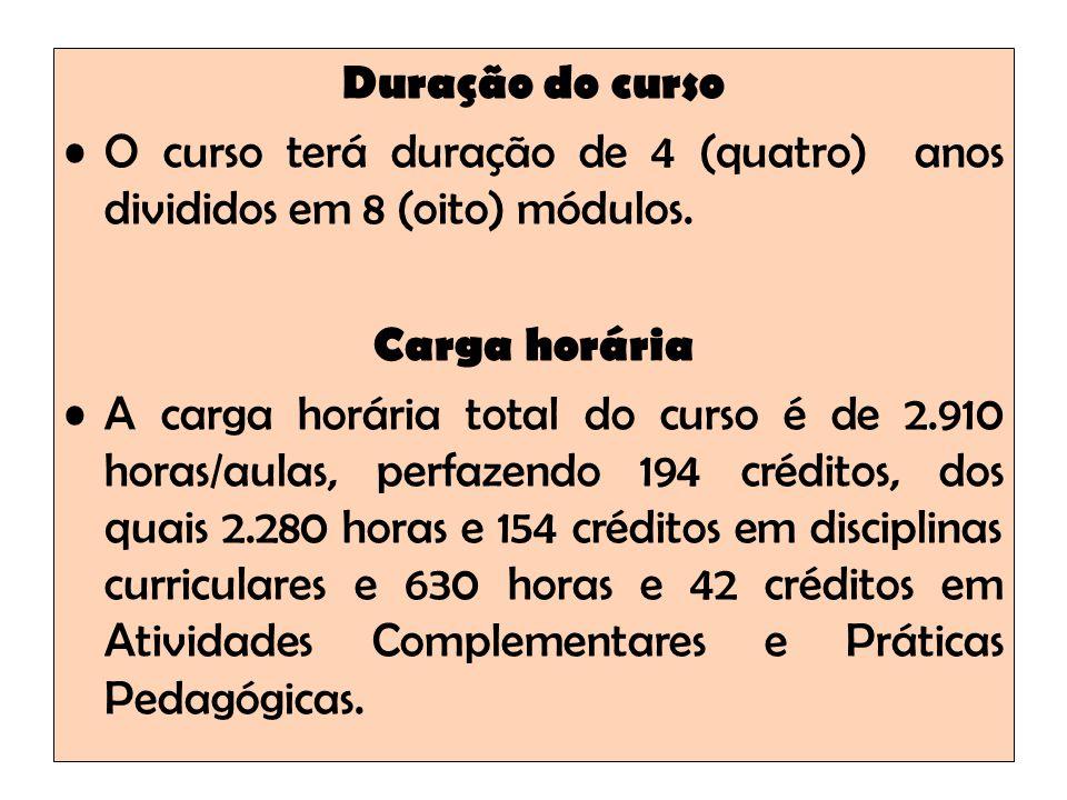 Duração do curso O curso terá duração de 4 (quatro) anos divididos em 8 (oito) módulos.