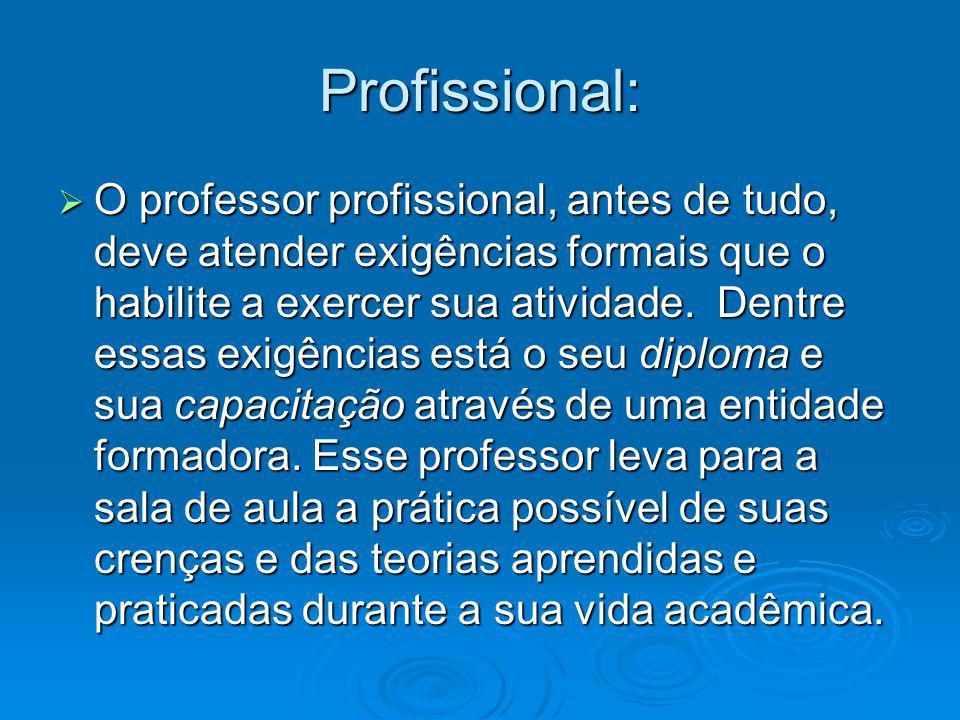 Profissional: O professor profissional, antes de tudo, deve atender exigências formais que o habilite a exercer sua atividade. Dentre essas exigências