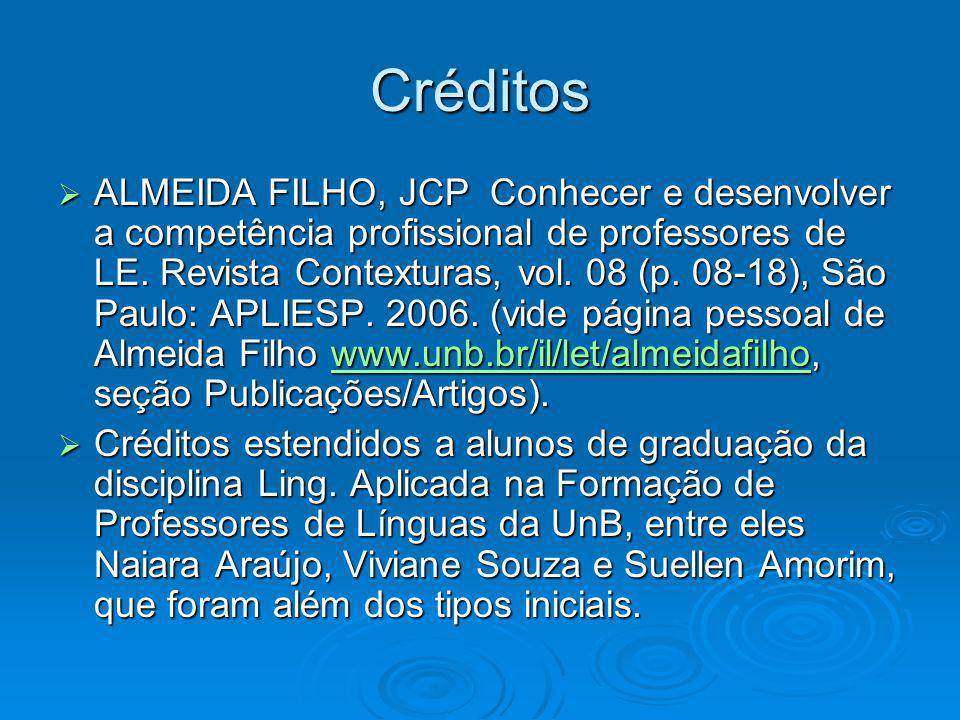 Créditos ALMEIDA FILHO, JCP Conhecer e desenvolver a competência profissional de professores de LE. Revista Contexturas, vol. 08 (p. 08-18), São Paulo