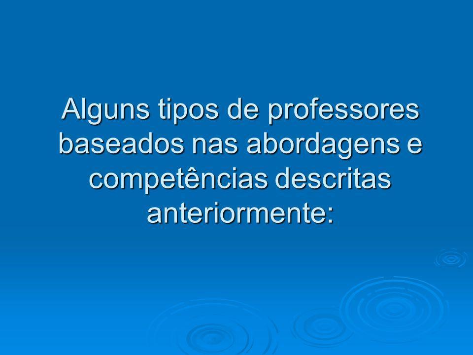 Alguns tipos de professores baseados nas abordagens e competências descritas anteriormente: