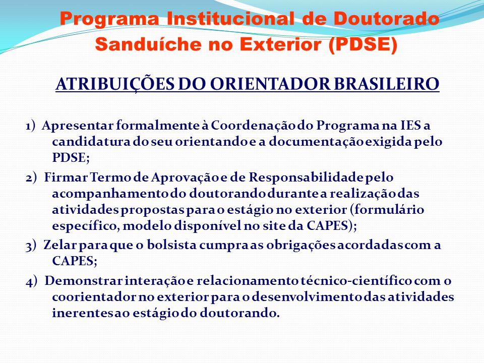 Programa Institucional de Doutorado Sanduíche no Exterior (PDSE) ATRIBUIÇÕES DO ORIENTADOR BRASILEIRO 1) Apresentar formalmente à Coordenação do Progr