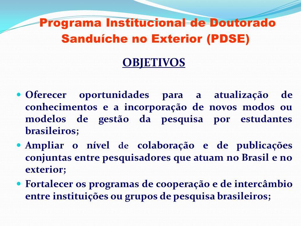 Programa Institucional de Doutorado Sanduíche no Exterior (PDSE) OBJETIVOS Oferecer oportunidades para a atualização de conhecimentos e a incorporação