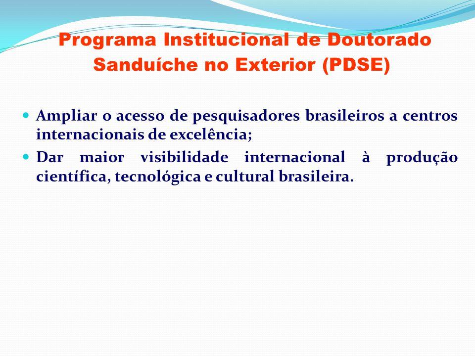 Programa Institucional de Doutorado Sanduíche no Exterior (PDSE) Ampliar o acesso de pesquisadores brasileiros a centros internacionais de excelência;