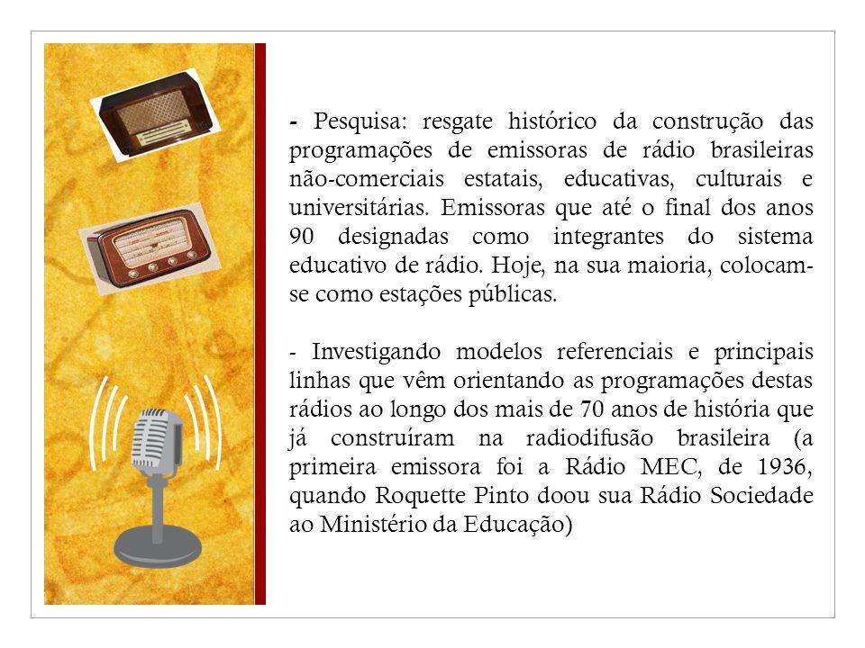 - Pesquisa: resgate histórico da construção das programações de emissoras de rádio brasileiras não-comerciais estatais, educativas, culturais e universitárias.