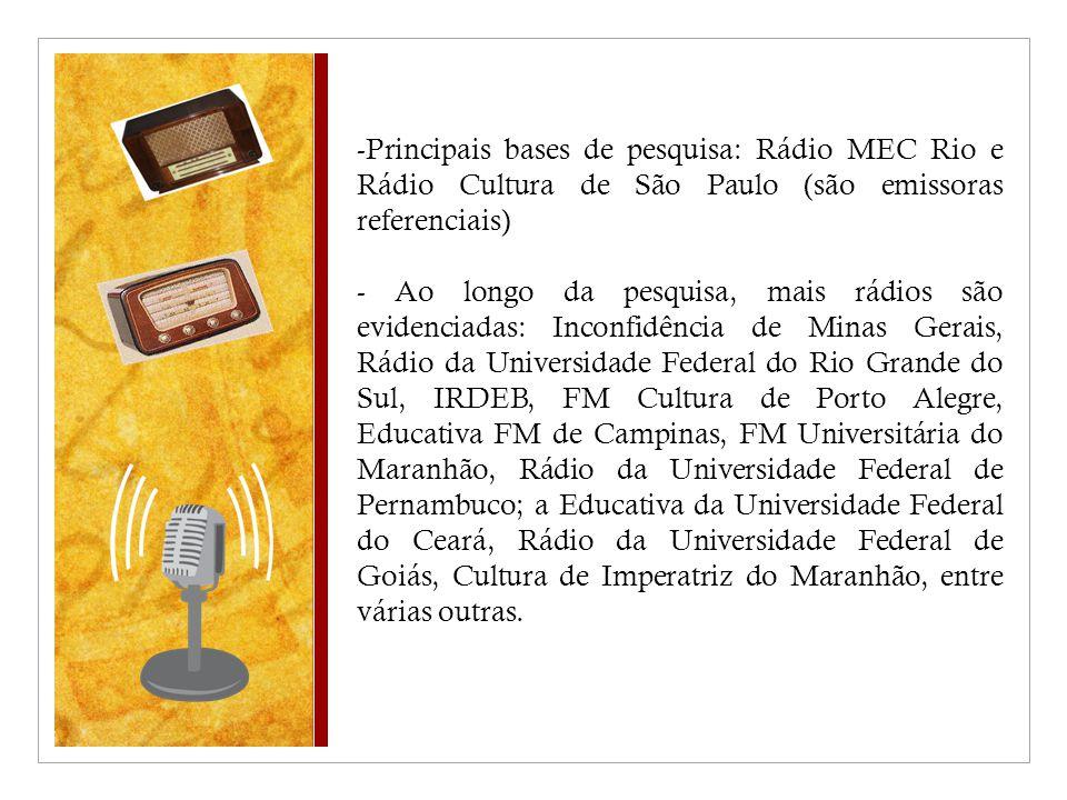-Principais bases de pesquisa: Rádio MEC Rio e Rádio Cultura de São Paulo (são emissoras referenciais) - Ao longo da pesquisa, mais rádios são evidenciadas: Inconfidência de Minas Gerais, Rádio da Universidade Federal do Rio Grande do Sul, IRDEB, FM Cultura de Porto Alegre, Educativa FM de Campinas, FM Universitária do Maranhão, Rádio da Universidade Federal de Pernambuco; a Educativa da Universidade Federal do Ceará, Rádio da Universidade Federal de Goiás, Cultura de Imperatriz do Maranhão, entre várias outras.