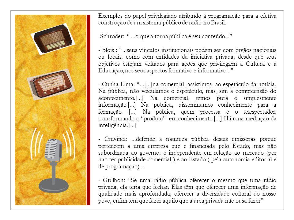 Exemplos do papel privilegiado atribuído à programação para a efetiva construção de um sistema público de rádio no Brasil.