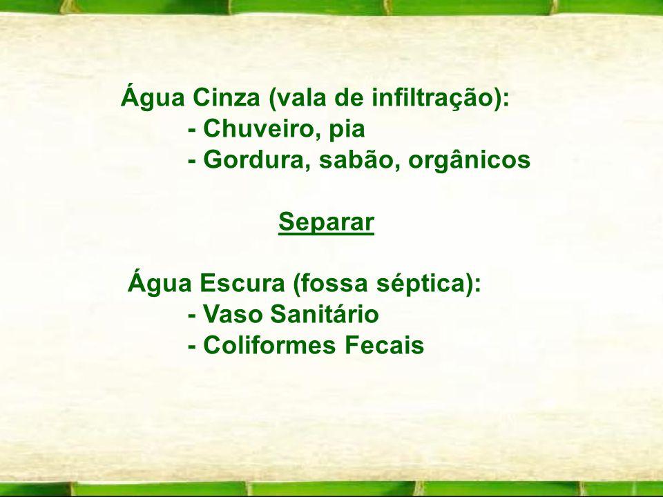 Água Cinza (vala de infiltração): - Chuveiro, pia - Gordura, sabão, orgânicos Separar Água Escura (fossa séptica): Água Escura (fossa séptica): - Vaso