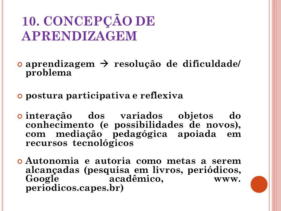 10. CONCEPÇÃO DE APRENDIZAGEM aprendizagem resolução de dificuldade/ problema postura participativa e reflexiva interação dos variados objetos do conh