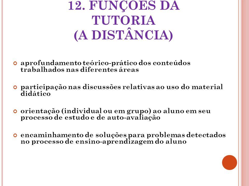 12. FUNÇÕES DA TUTORIA (A DISTÂNCIA) aprofundamento teórico-prático dos conteúdos trabalhados nas diferentes áreas participação nas discussões relativ
