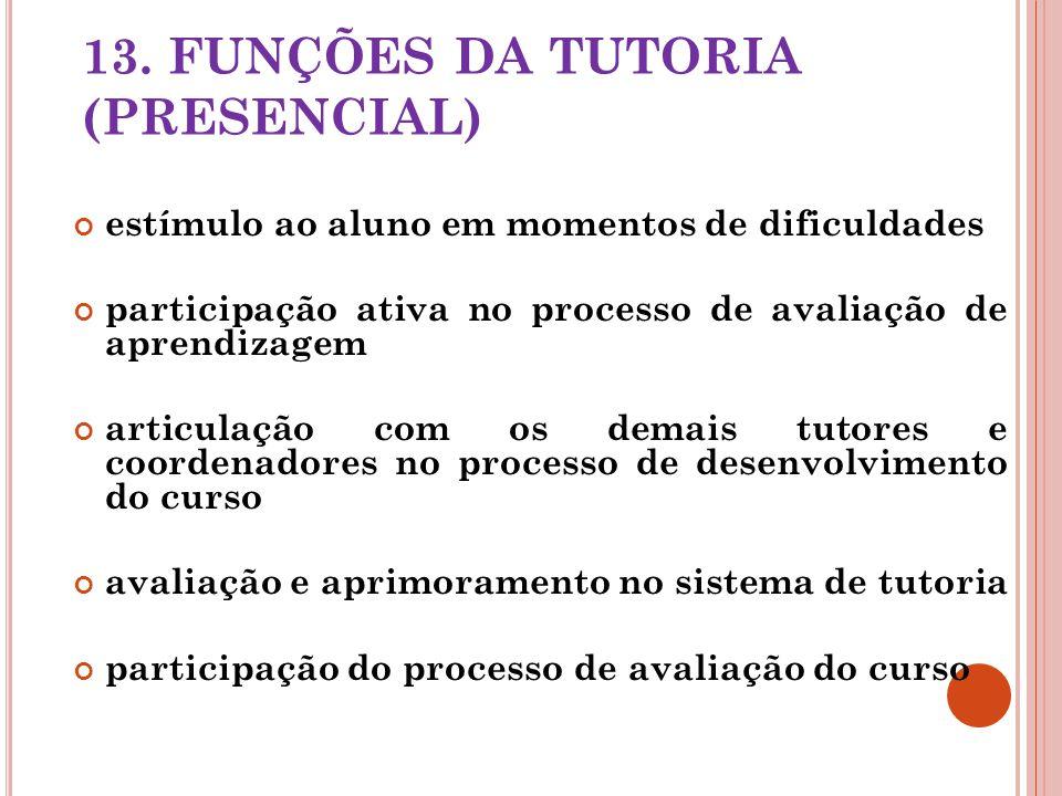 13. FUNÇÕES DA TUTORIA (PRESENCIAL) estímulo ao aluno em momentos de dificuldades participação ativa no processo de avaliação de aprendizagem articula